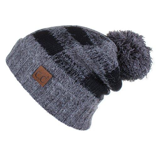 Hatsandscarf CC Exclusives Buffalo Check Pattern Fuzzy Lined Knit Pom Beanie Hat (HAT-55) (Dk.Mel Grey/Black) (Buffalo Shop Buffalo, Ny)