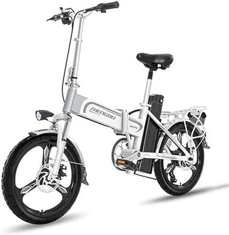 Bicicleta Eléctrica Plegable Adulto Bicicleta eléctrica ligera de 16 pulgadas ruedas E-bici portable con el pedal 400W Power Assist aluminio de la bicicleta eléctrica Velocidad máxima de hasta 25 mph: Amazon.es: Deportes