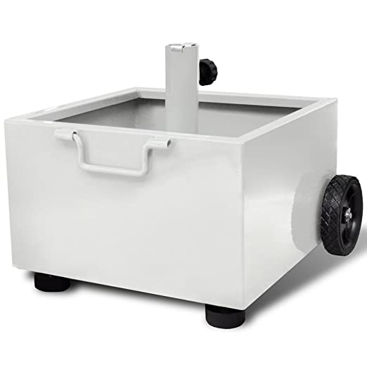 Base Ombrellone Con Ruote.Vidaxl Base Ombrellone Per Fioriera Metallo Bianco Con Ruote