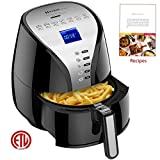 Air Fryer, Habor 3.8 Qt Electric Air Fryer, Deep Air Fryer Cooker, Programmable 7-in-1, Temperature and Time Control With Recipes & Cook Book Detachable Dishwasher Safe Part,1500W Black