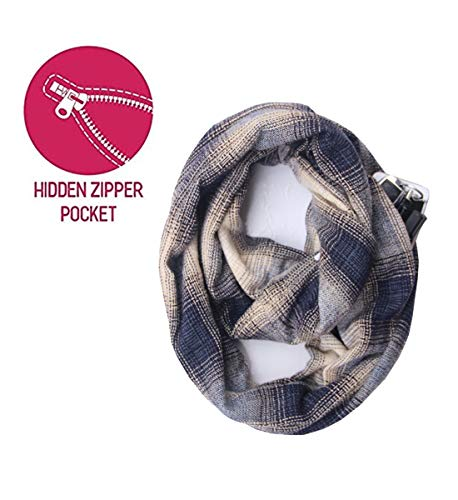 Lucky Leaf Women Winter Checked Pattern Warm Plaid Infinity Scarf with Hidden Zipper Pocket (Z-Purple Plaid)