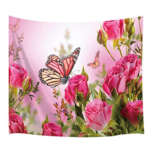 JAWO Flower Decor Tapestry Wall Hanging, Butterfly Fliying on The Pink Rose, Polyester Fabric Wall Tapestry for Home Living Room Bedroom Dorm Decor 80W X 60L Inches
