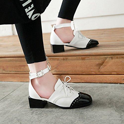 Scarpe Cinturino Tacco Moda Xinwcang Chiusi Sandali col Grosso Eleganti con Bianca Donna FSnxT
