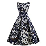 Wellwits Women's Floral Print 1950s Tea Party Vintage Swing Dress Navy M