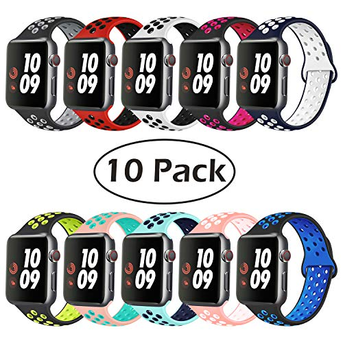 (IWATUTY Compatible with Apple Watch Band 44mm 42mm 40mm 38mm,Soft Silicone iWatch Sport Bands Replacement Wristband for Series 4 3 2 1, Nike+, Sport, Edition, S/M M/L, 10PACK for Woman and Man)