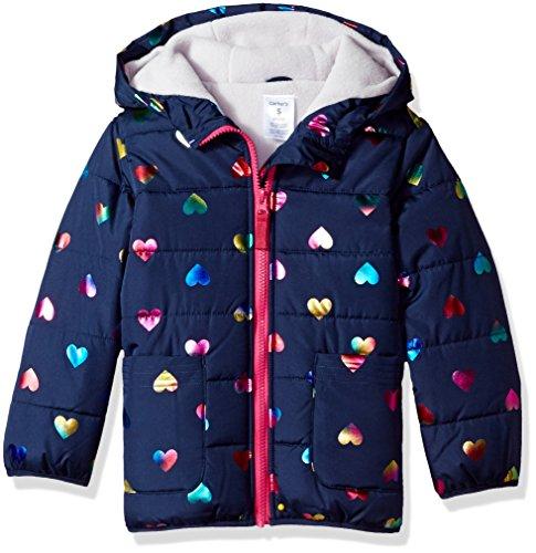 Foil Lined Heart - Carter's Little Girls' Fleece Lined Puffer Jacket Coat, Navy Rainbow Heart, 6X