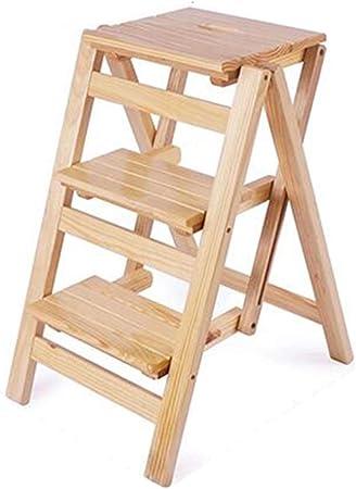 Escaleras plegables Escalera de madera casa multifunción escalera plegable escalera de tres pasos silla silla escalera taburete interior escalera ascendente escalera de madera estante Sillas y taburet: Amazon.es: Hogar