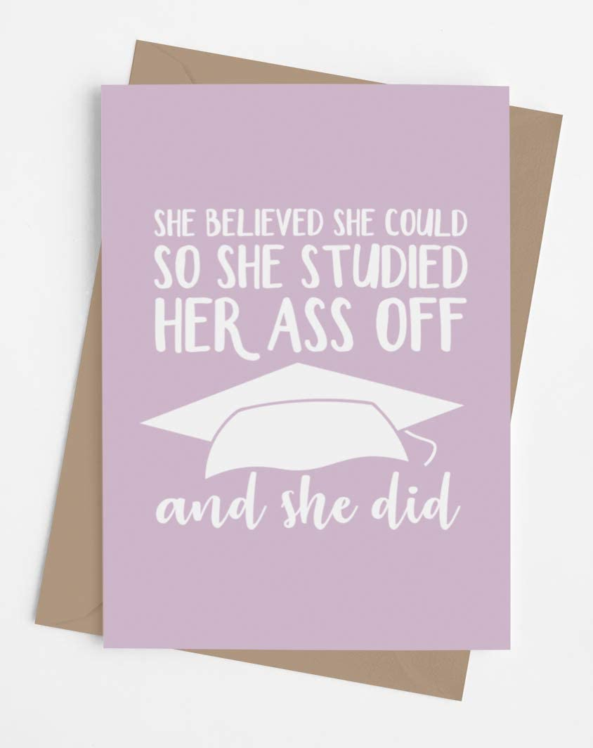 Funny and original graduation card for her with envelope | Inspirational card for women from mom, dad, friend… Fun and empowering present for graduation day.