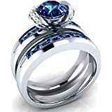 925 Silver Jewelry Round Cut Blue Sapphire Elegant Wedding 2pc Ring Size 6-10 (8)