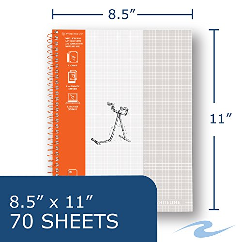 WhiteLines 17001cs Case of 12 Whitelines Notebooks, Grey Lined Paper, Background Disappears When You Scan Pages With Whitelines Free App, Case 11''x8.5'' Graph, Orange by WhiteLines (Image #2)