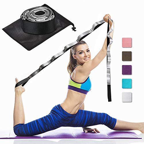 Yoga Strap Fitness Multi-Loop Strap Stretch Band 12 Loops Yoga Stretch Strap Nonelastic Stretch Strap for Physical Therapy, Pilates, Dance and Gymnastics with Carry Bag