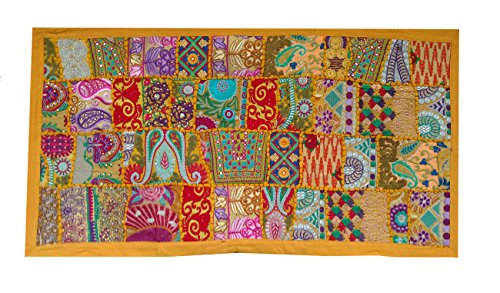 Rastogi Handicrafts Indian Handmade Embroidered Patchwork Old Hanging Wall Art Vintage Tapestry Old Sari Cutting Wall Hanging Parda (YELLOW, 20 X 40 - Sari Tapestry