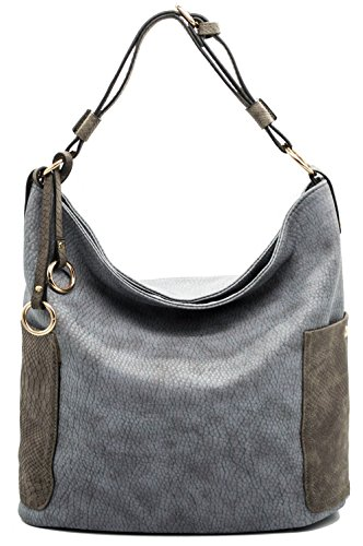 Hobo Bags Shoulder Tote Purse Bags Top Handle PU Leather Bags with Side Zipper Pouch (Grey) ()