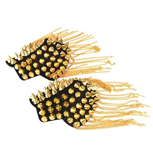 BESTOYARD Fringe Shoulder Pieces Rivet Tassel Chain Epaulet Shoulder Boards Badge Halloween Costume Uniform Accessories (Gold) -