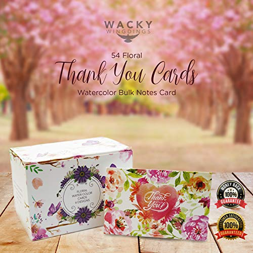 54 Floral Thank You Cards - Watercolor Bulk Notes Card - Papyrus Rustic Postcards Blank Inside with Envelopes for Engagement Wedding Cute Baby Shower Bridal Baptism Birthday Girl Small Funeral Note Photo #4