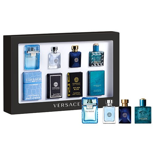 Versace Miniatures Set Man 5 ml Eau Fraiche + 5 ml pour Homme + 5 ml Dylan Blue + 5 ml Eros - Limited Edition!