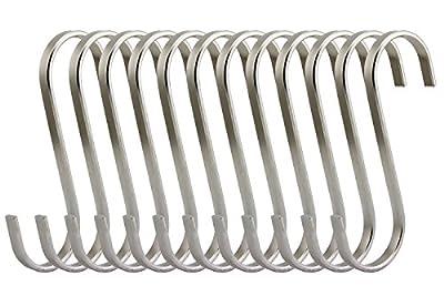 RuiLing Premium Brushed Stainless Flat S Hooks Kitchen Pot Pan Hanger Clothes Storage Rack.