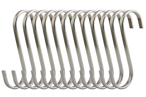 RuiLing Premium 12 Pack Size Medium Brushed Stainless Flat S Hooks Kitchen Pot Pan Hanger Clothes Storage Rack.