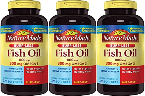 Nature Made Burp-less Fish Oil, 1000 Mg, 300 mg Omega-3, 3 Pack (320 Liquid Softgels Each) Et5hy Nature-Sw by Nature Made