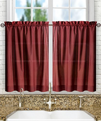 Merlot Panel Bed (Ellis Curtain Stacey 56-by-24 Inch Tailored Tier Pair Curtains, Merlot, 56x24)