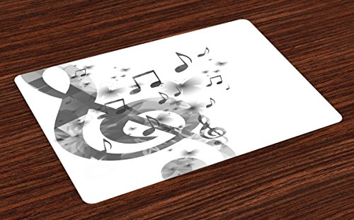 - Lunarable Music Place Mats Set of 4, Music with G-Clef Key Symbol Instrument Monochrome Creative Rhythmic Ornate Design, Washable Fabric Placemats for Dining Room Kitchen Table Decoration, Grey White