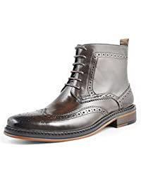 Leather oxford Brogue Wingtip Mens lace up Perforated Dress Boots Dress Leather military Shoes