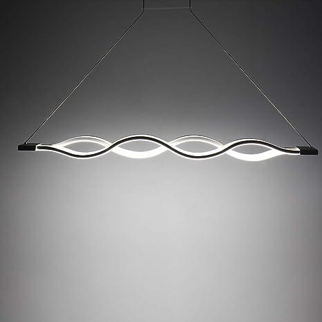 Lámpara de Techo Colgante LED 6500K - Iluminación Colgante de Araña Ondulada, Lámpara de Techo Comedor Lineal Simple Moderna, Lámpara de Iluminación ...