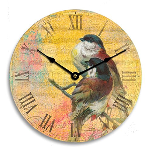 Vintage shabby chic or Victorian Catherine Klein birds 10 inch kitchen wall clock. Yellow, red and blue background.