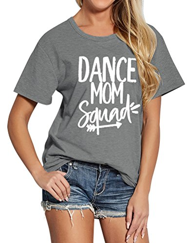 Ezcosplay Women Funny Letter Print DANCE MOM Squad Short Sleeve Cotton Tee Shirt
