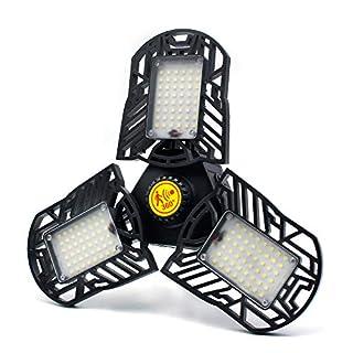 60W Motion Activated LED Garage Lights, 6000LM Deformable LED Garage Ceiling Lighting for Full Area, CRI 80 LED Shop Lights, E26/E27 Base 6000K Radar LED Light Bulbs for Garage, Barn, Workshop