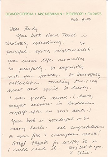 AUTOGRAPH LETTER TO AUTHOR RUDY WURLITZER PRAISING HIS BOOK