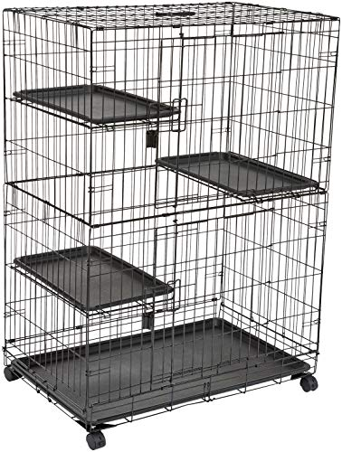 AmazonBasics Large 3-Tier Cat Cage Playpen Box Crate Kennel - 36 x 22 x 51 Inches, Black (Cat House Two Level)