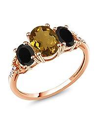 1.82 Ct Oval Whiskey Quartz Black Onyx 10K Rose Gold Diamond Accent Ring