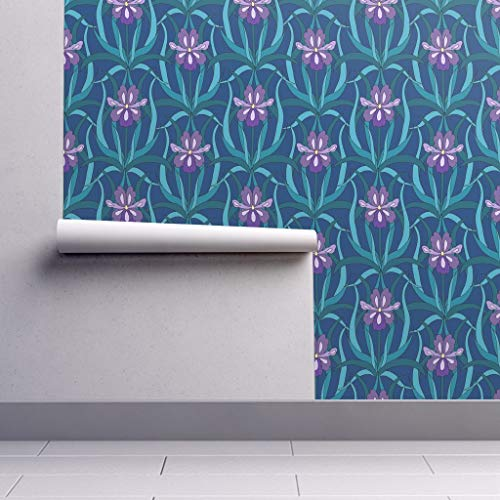 Peel-and-Stick Removable Wallpaper - Art Art Deco Iris Flower Blue Purple Green Botanical Floral Bold by Pond Ripple - 24in x 96in Woven Textured Peel-and-Stick Removable Wallpaper Roll
