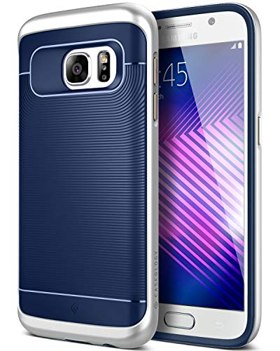 Caseology Wavelength for Galaxy S7 Case (2016) - Stylish Grip Design - Navy Blue/Silver
