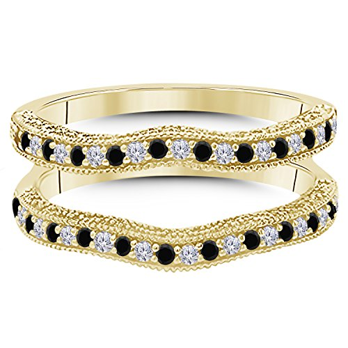 14K Gold Plated Alloy 0.50ct Created Black Sapphire & Simulated Diamond Ring Solitaire Enhancer Guard Wrap For Women's Free Size 4 to 27
