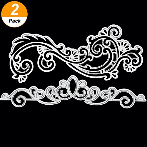 Maxdot 2 Pieces Lace Flower Lace Crown DIY Scrapbooking Cutting Dies Metal Stencil Template for Greeting Card Cover Embossing