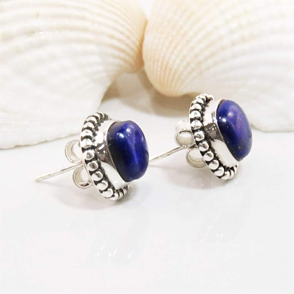 Sivalya Natural Lapis Lazuli Post Stud Earrings in 925 Sterling Silver Bali Inspired Braided Genuine Gemstone Earrings in Solid Silver 1//4