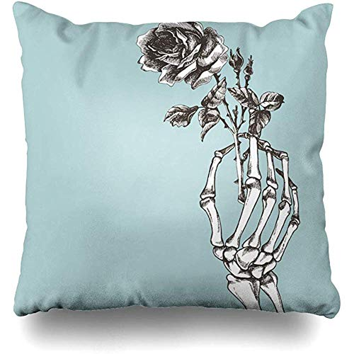 Throw Pillow Cover Square Cases 18x18 Inches Poetry Death Hand Skeleton Flower Vintage Horror Rose Gothic Goth Bone Love Realistic Cushion Home Decor Pillowcase
