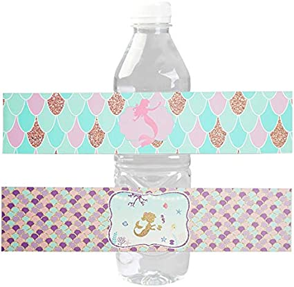 Mermaid Birthday Party Water Bottle Labels 24 Stickers