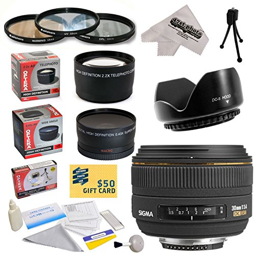 - Sigma 30mm f/1.4 EX DC HSM Autofocus Lens for The Nikon D1 D1X D1H D2X D2Xs D2H D2Hs D3 D3X D3s D100 D200 D300 D300S D700 D7000 D7100 D3000 D3100 D3200 D5000 D5100 D5200 D5300 D40 D40X D50 D60 D70 D90 D80 DSLR Cameras Includes 3 Year Extended Lens Warranty + 0.43x High Definition II Wide Angle Panoramic Macro Fisheye Lens + 2.2x Extreme High Definition AF Telephoto Lens + Professional 62MM 3 Piece Pro Filter Kit (UV, CPL, FLD) + Flower Lens Hood + Deluxe Lens Cleaning Kit + LCD Screen Protectors