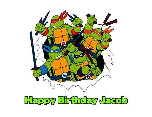 Teenage Mutant Ninja Turtles 90s TMNT Edible Image Photo Sugar Frosting Icing Cake Topper Sheet Personalized Custom Customized Birthday Party - 1/4 Sheet - 77045 -