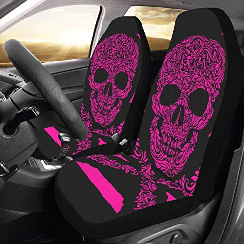 (INTERESTPRINT Car Seat Cover Protector Cushion Pink Stripes Floral Skull Comfortable Wear Resistant Universal Automobile Seat Covers)
