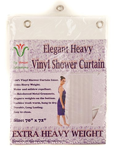 Venice Elegant Home Heavy Duty Vinyl Shower Curtain Liner With 12 Metal Grommets White