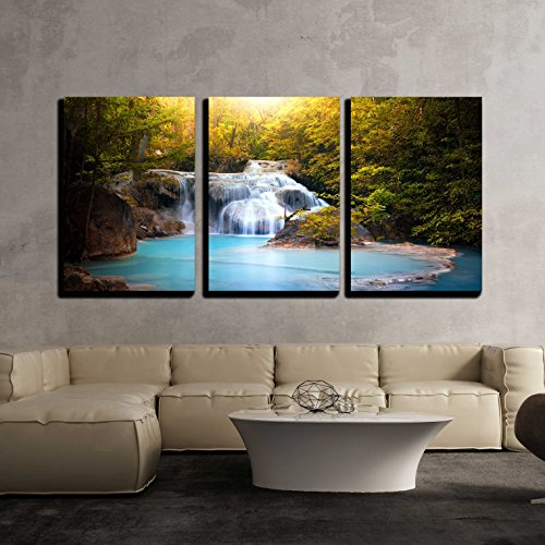 (wall26 - 3 Piece Canvas Wall Art - Sunlight Through Tree Leaves Lights Beautiful Waterfall in Forest - Modern Home Decor Stretched and Framed Ready to Hang - 24