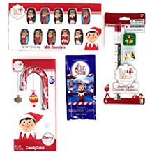 Elf On The Shelf Stocking Stuffers including Jumbo Candy Cane with Chippey's Peppermint Cocoa and Milk Chocolate Candy Great for Stocking Stuffers