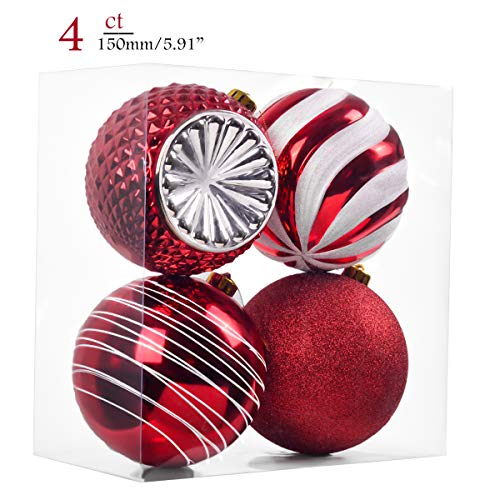 Teresa's Collections 4ct 150mm Traditional Red and White Shatterproof Christmas Ball Ornaments Decoration,Themed with Tree Skirt(Not Included)
