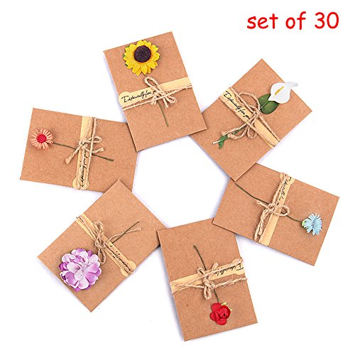 Bidlsbs Vintage Kraft Handmade Dried Flowers Thank You Notes Birthday Party Invitation Card Greeting Wish Cards Set, 6 Designs with Envelopes, Pack of 30 (Handmade Note Card Set)