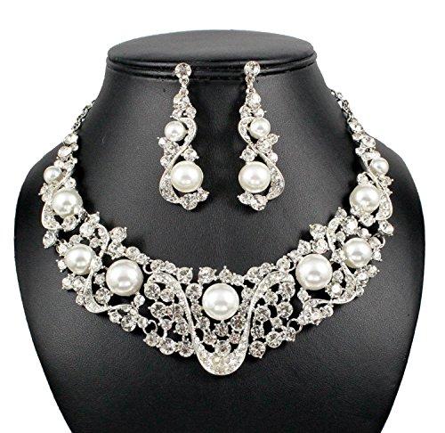 Janefashions Wonderful Faux Pearl Clear Austrian Rhinestone Bib Necklace Earrings Set Bridal (Rhinestone Bib)