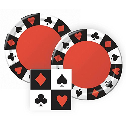 Card Night, Poker Party or Casino Night Paper Dinner Plates and Paper Napkins, 16 Servings, Bundle- 3 Items -